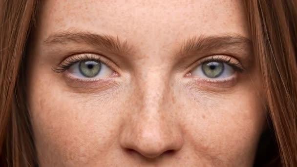 Extrémní closeup portrét krásné ženy 20s s nazrzlé vlasy a piha pohledu na vás se šťastným úsměvem, izolované na bílém pozadí. Pojetí emocí