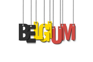 The word Belgium hang on the ropes. Vector illustration