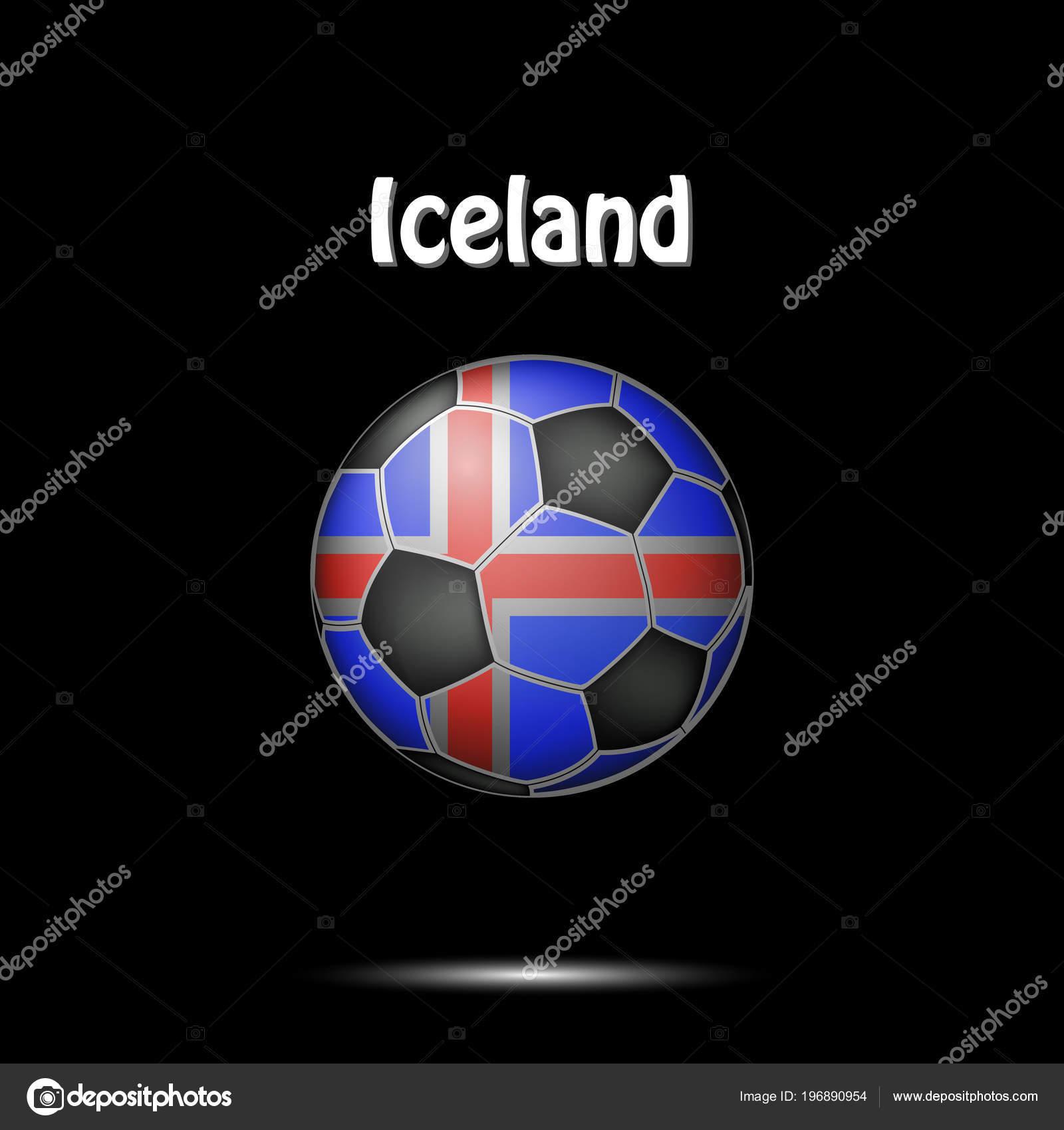 Fußball Gemalt Den Farben Der Flagge Island Vektor Illustration ...