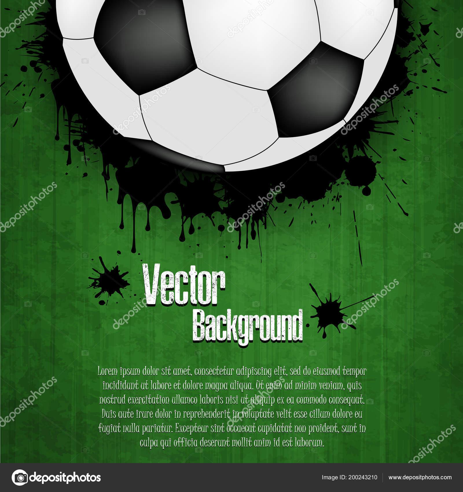 052d265e31 Fundo Bola Futebol Banner Futebol Com Campo Futebol Bola Texto — Vetor de  Stock