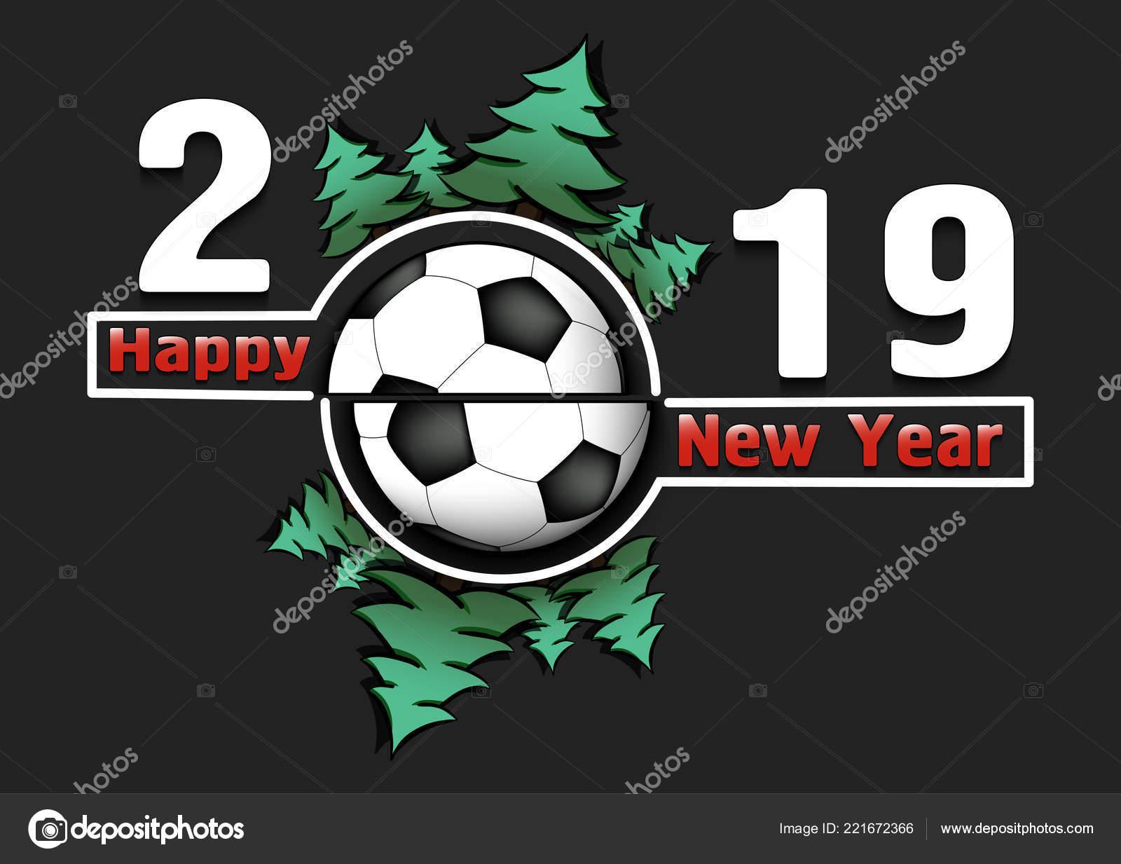 S Novym Godom 2019 I Futbolnyj Myach Vektornoe Izobrazhenie