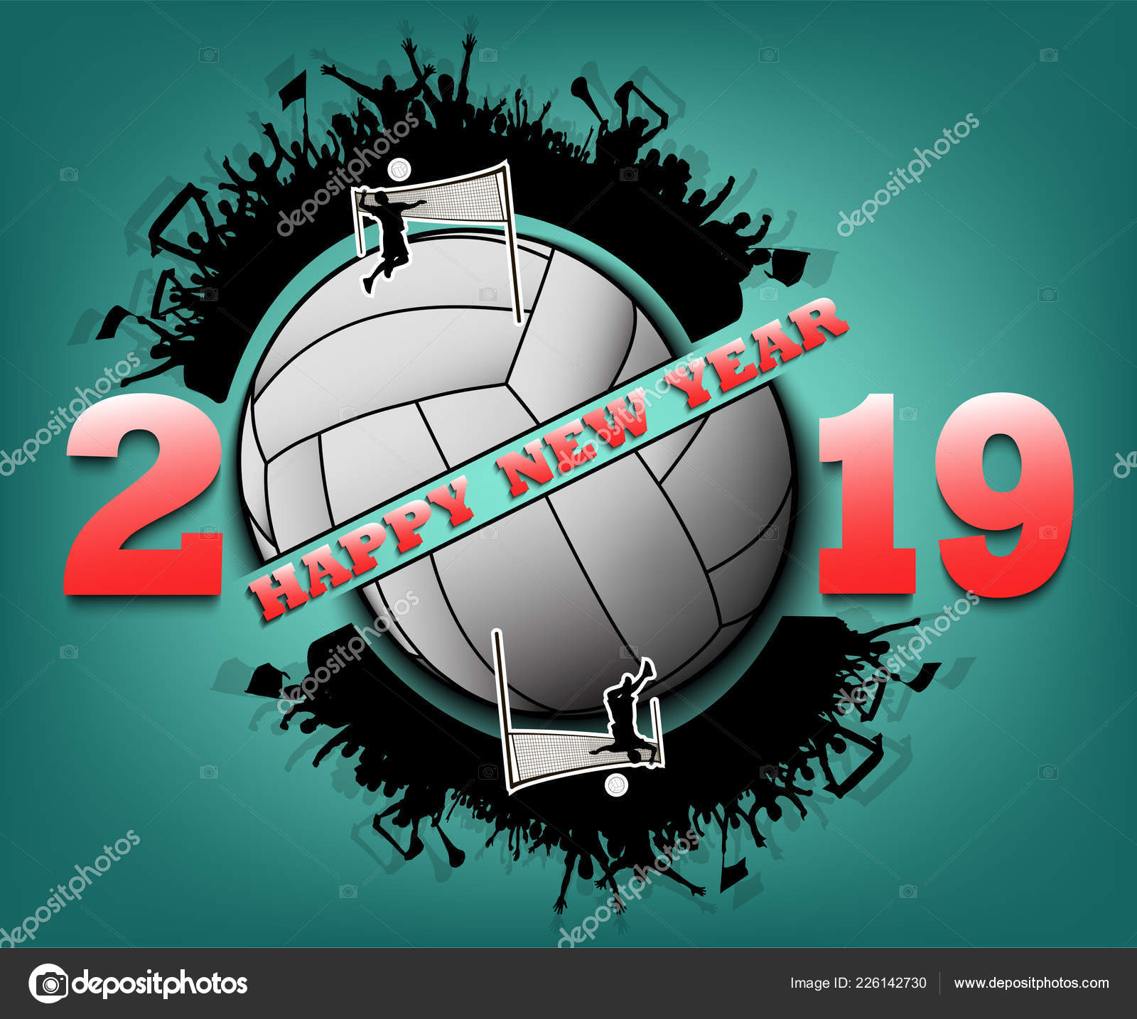 Happy New Year 2019 And Volleyball Ball Stock Vector C Mityay Pg