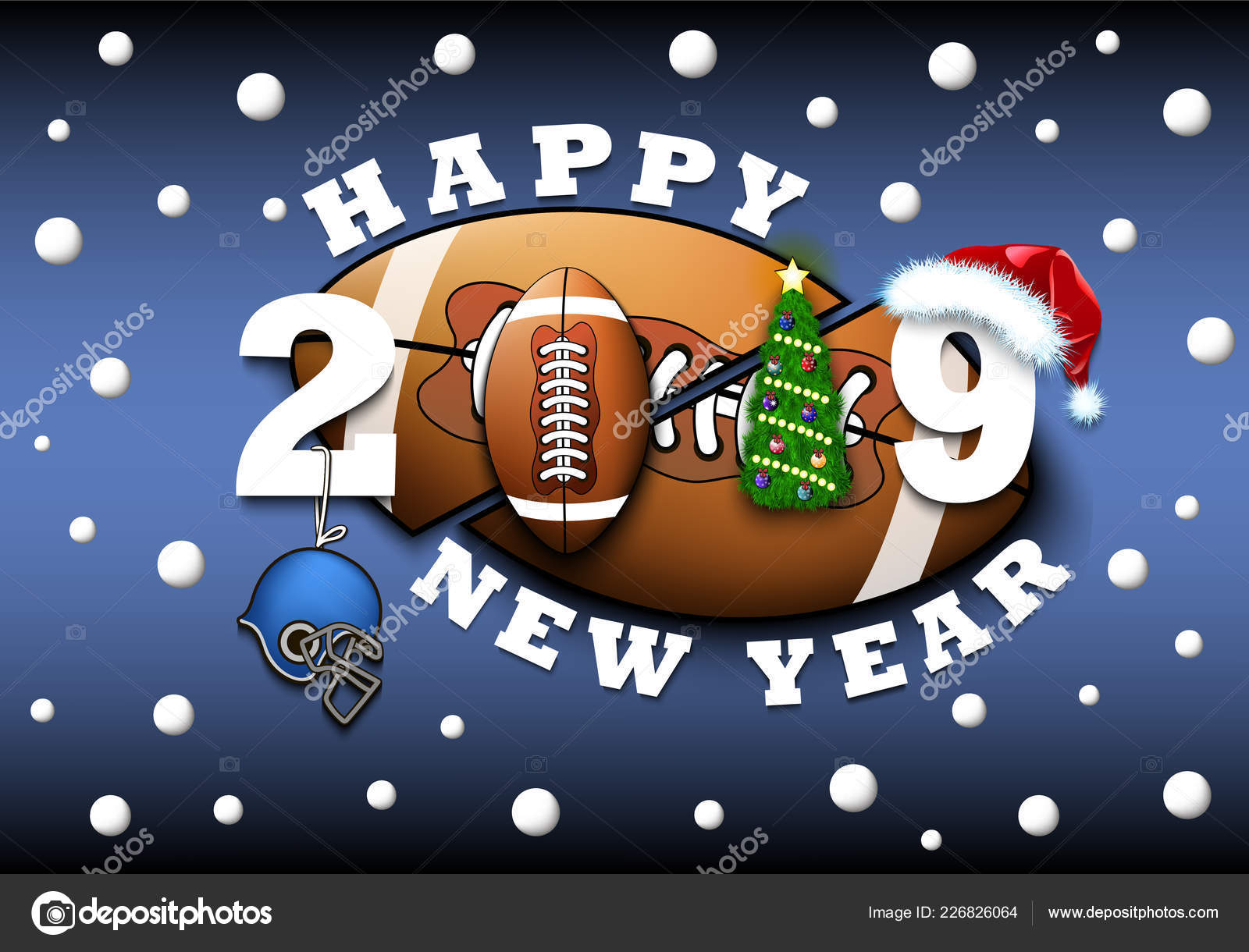 Happy New Year 2019 And Football Ball Stock Vector C Mityay Pg