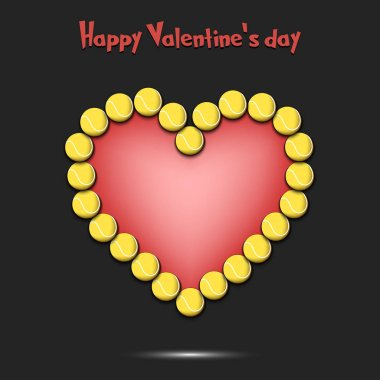Happy Valentines Day. Heart from the tennis balls
