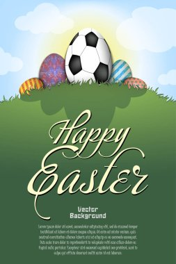 Happy Easter. Soccer ball in the form of egg