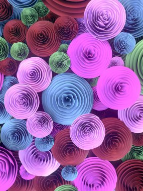 Abstract Illustration of paper-crafted, quilling flowers with different shades of spring colors, symbolizing love, courtship, marriage or Valentine's day. 3d rendering