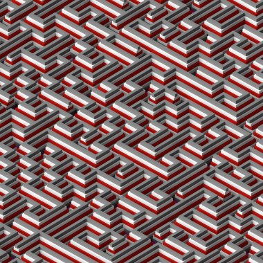 Abstract square colored labyrinth shape concept 3d rendering