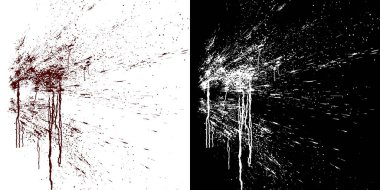 Computer simulation of splashes and blood flows on a white wall. Digital illustration with alpha matte to compose. 3d rendering
