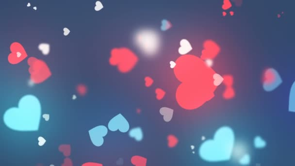 Abstract animation of hearts shapes. Valentines day motion background design with bokeh effect. 3d rendering