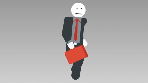 2d Charakter-Walk-Zyklus, nahtlose Loopanimation. Geschäftsmann Strichmännchen gehen schnell mit Tasche. alpha matt. Voll hd