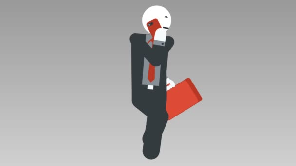 2D-s karakter séta a ciklus, végtelenített animáció zökkenőmentes. Üzletember fuss zsák, és beszélni a mobil. Alfa-Matt. Full Hd