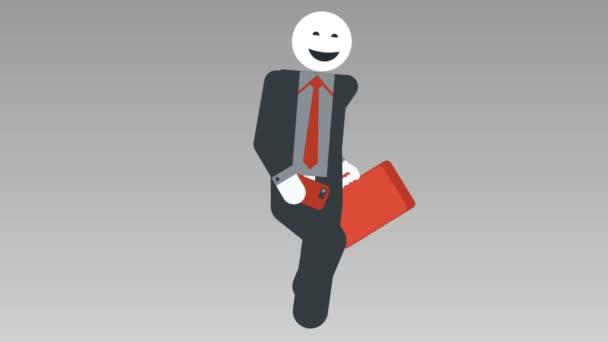 2d Cartoon Charakter Walk-Zyklus, nahtlose Loopanimation. Geschäftsmann Strichmännchen laufen mit Tasche. alpha matt. Voll hd
