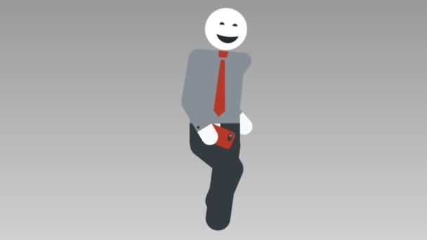 2D charakter chůze cyklu, bezešvé smyčky animace. Panáček podnikatel chodit s mobile. Alfa podkladu. Full Hd