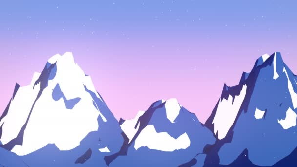 Flat winter mountain landscape background. Computer generated loop animation. 3d rendering. 4K, Ultra HD resolution