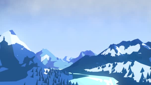 Flat winter animated landscape background with mountains and trees. 3d rendering. 4K, Ultra HD resolution