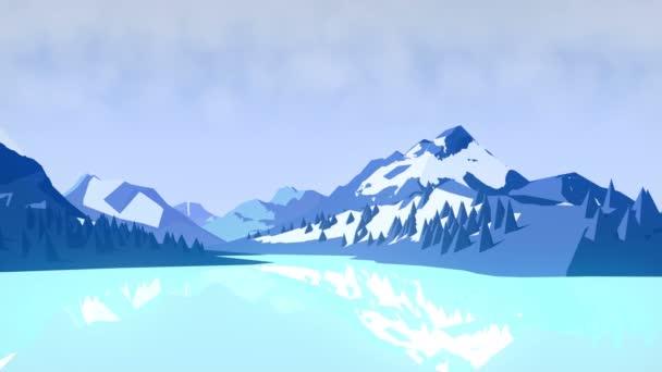 Plochý zimní animované pozadí krajiny s horami a stromy. 3D vykreslování. 4k Ultra Hd rozlišení