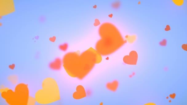 Abstraktní animace srdce tvarů. Valentinky den pohybu pozadí návrhu s efektem bokeh. 3D vykreslování