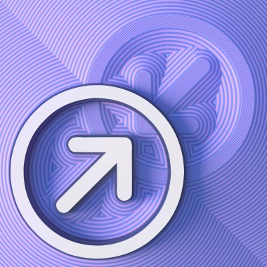 Arrow symbol, button with shadow. Colorful sign. 3d rendering