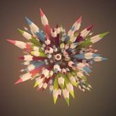 Abstrakte Komposition Buntstifte von leichten Nebel umgeben. Hintergrund-Template-Design. 3D-Rendering