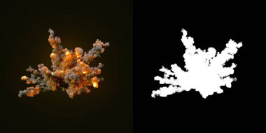 Composition with large explosions in dark plus alpha channel. 3d rendering