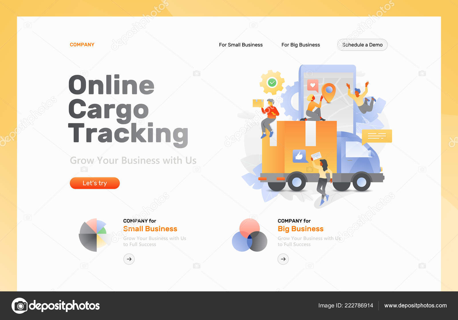 vector web page template online cargo tracking big truck box stock