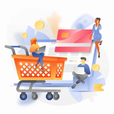 Vector illustration concept of online shop. Vector tiny people characters ordering goods. Shopping cart, gift box and credit card over an open laptop.