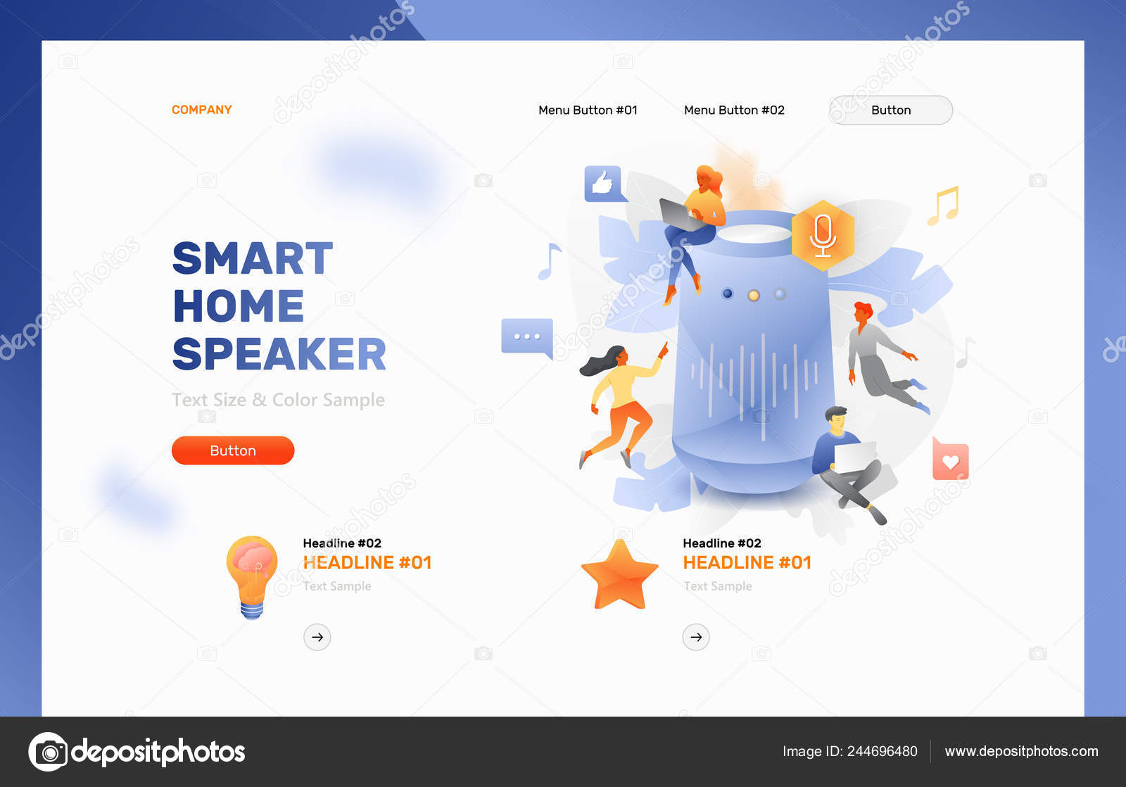 Vector Website Header Template Smart Home Speaker Surrounded