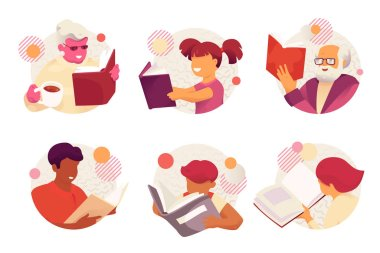 Reading books family characters. Vector pack of modern flat and simple faceless smiling family reading books. icon