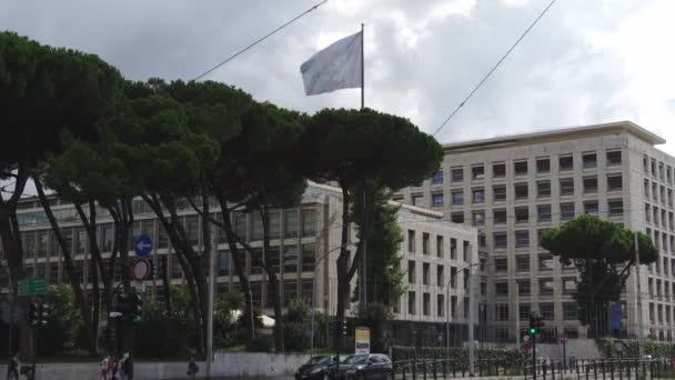 Rome, Italy - September 2, 2018: FAO building. Food and Agriculture Organization of the United Nations is a specialised agency of the United Nations leading international efforts to defeat hunger