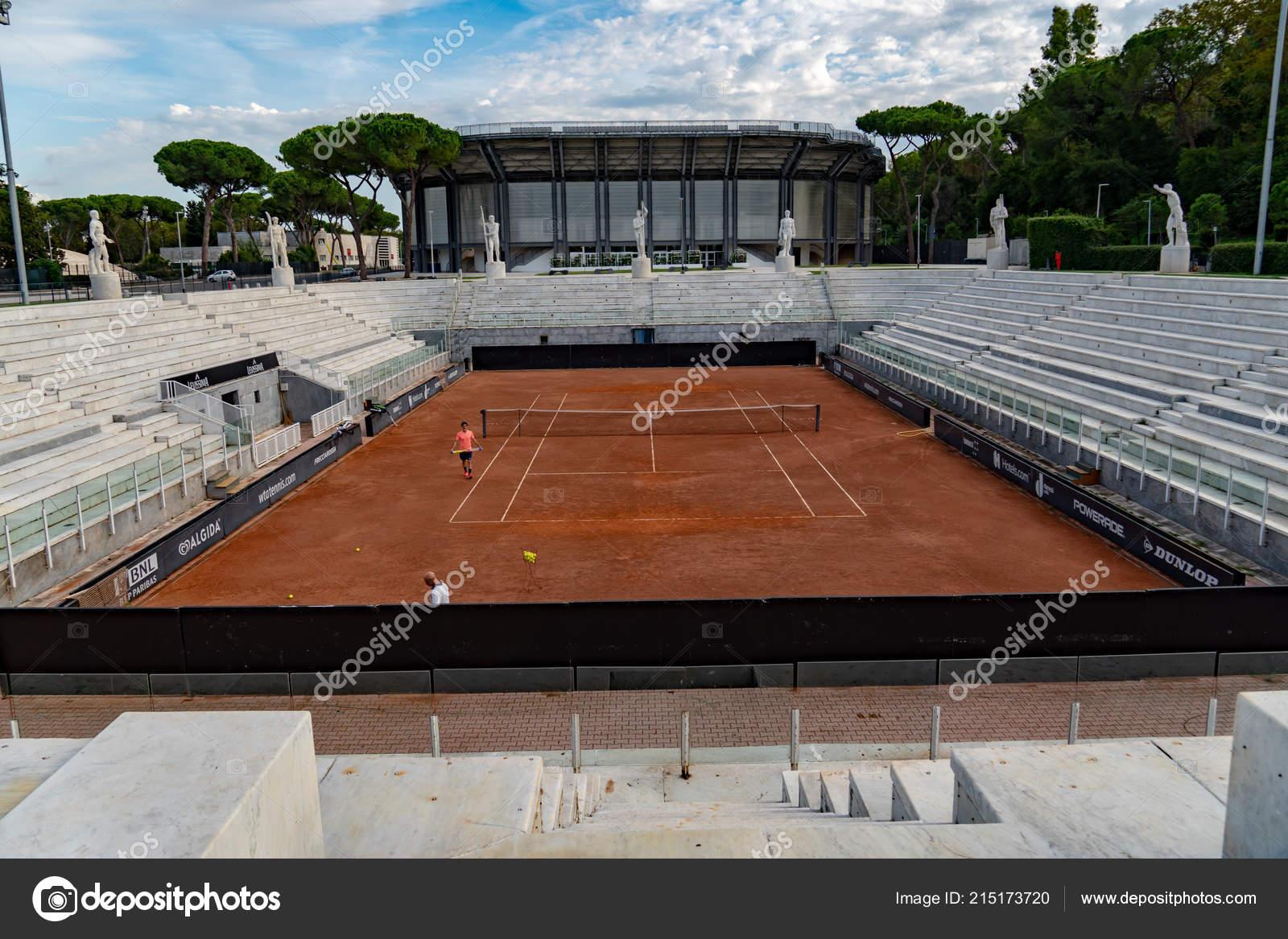 Campi Da Tennis Roma.Roma Italia Settembre 2018 Irriconoscibili Giocatori Sul Campo