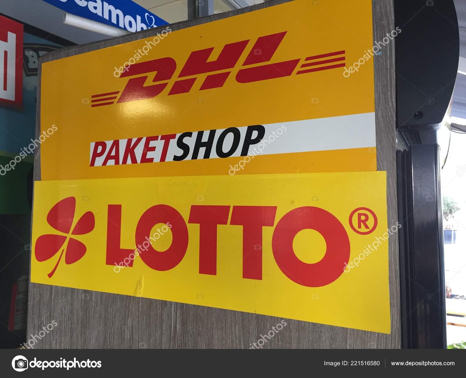 Berlin Germany October 2018 Lotto Dhl Paketshop Logo Dhl Shipping