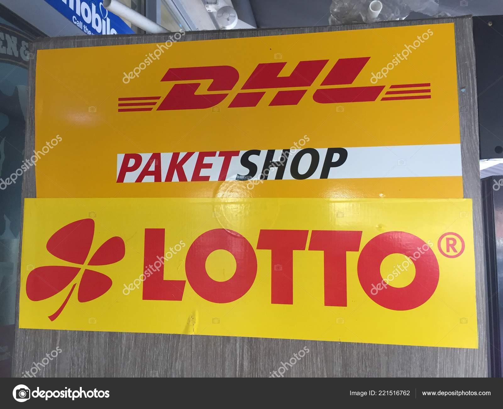 Berlin Germany October 2018 Lotto Dhl Paketshop Logo Dhl