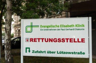 Berlin, Germany - August 23, 2018: Signage of the Evangelische Elisabeth Klinik rescue center. medical clinic in Mitte district