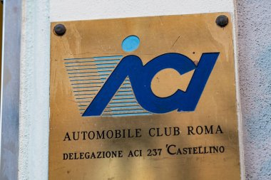 Rome, Italy - February 18, 2019: Automobile Club Rome sign. The Automobile Club d'Italia is a corporation of the Italian Republic promoting and regulating the car sector and car owners' interests