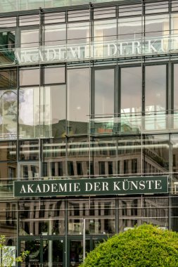 Berlin, Germany - July 31, 2019: Akademie der Knste facade. The Academy of Arts is a state arts institution with the task to promote art, as well as to advise and support the states of Germany