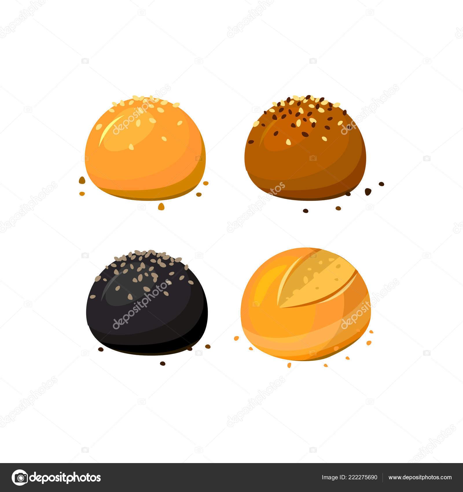 Assortimento di panini e panini con sesamo a fondo bianco