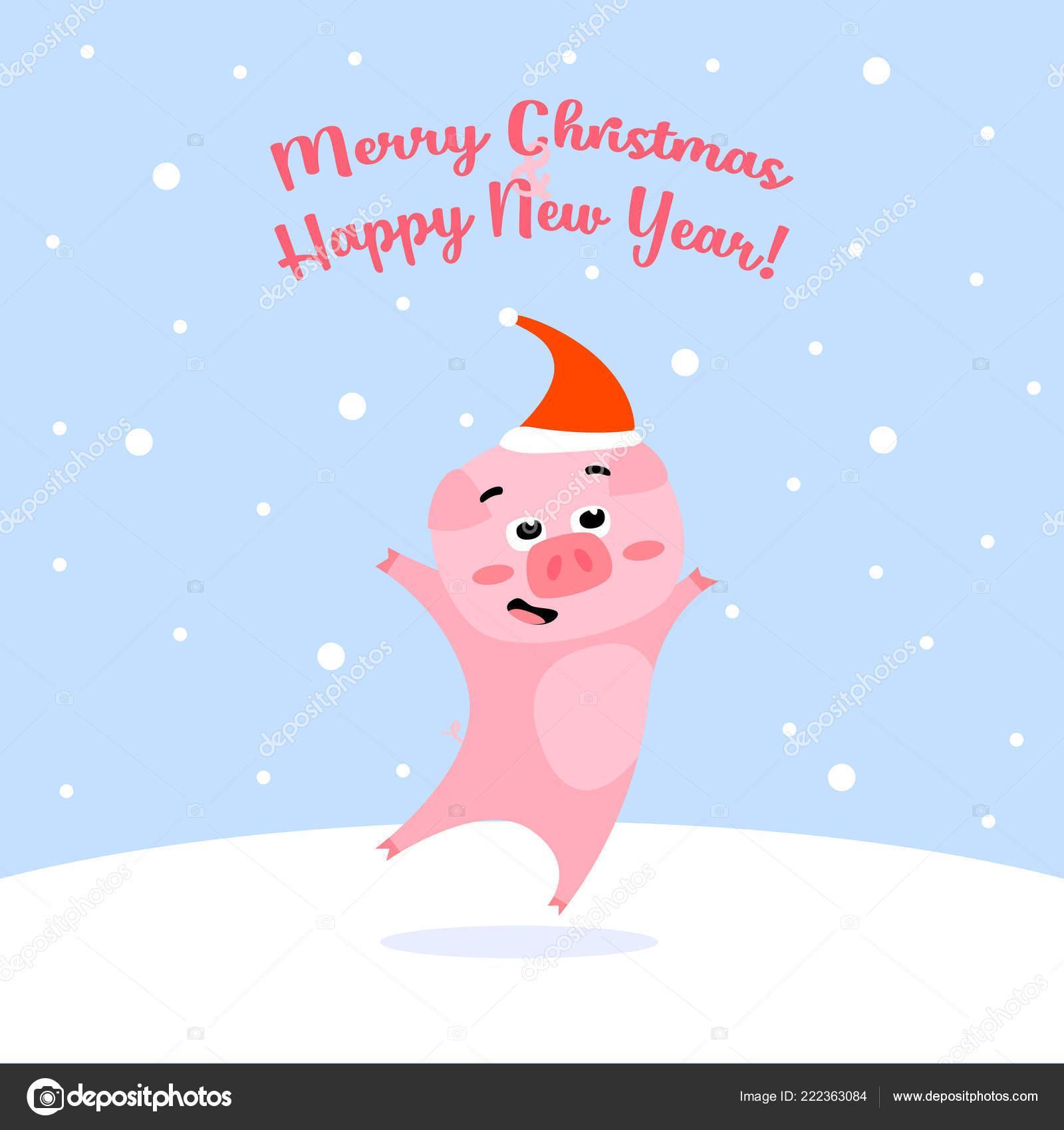 Immagini Divertenti Natale 2019.Maiale Di Natale Divertente Su Priorita Bassa Di Inverno