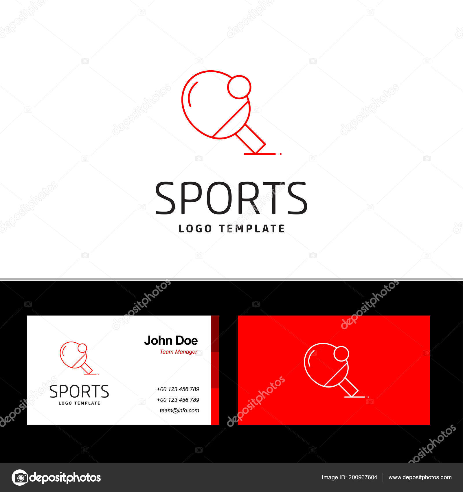 Illustration Vectorielle Conception Carte Visite Avec Logo Sports