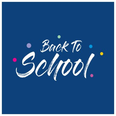 Back to school typography with blue background, vector illustration