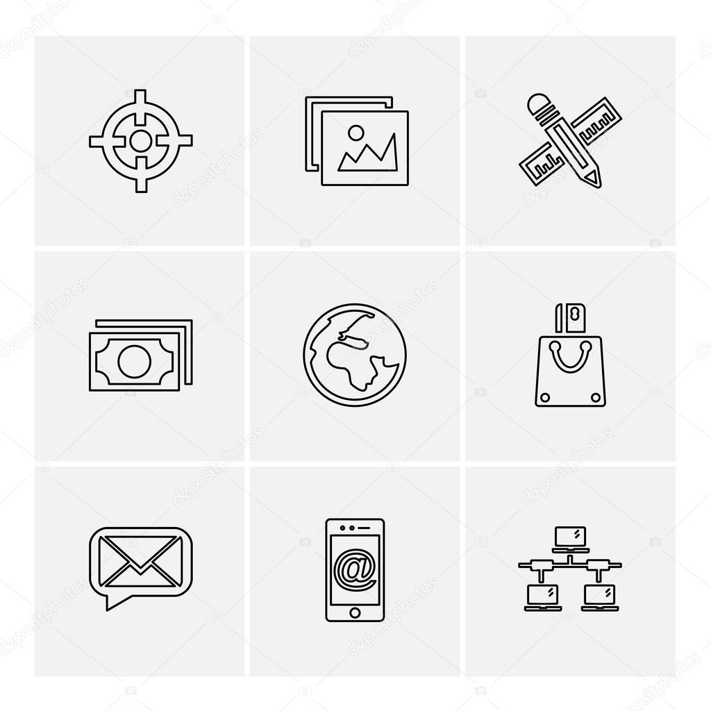 flat vector illustration icons, set of app icons