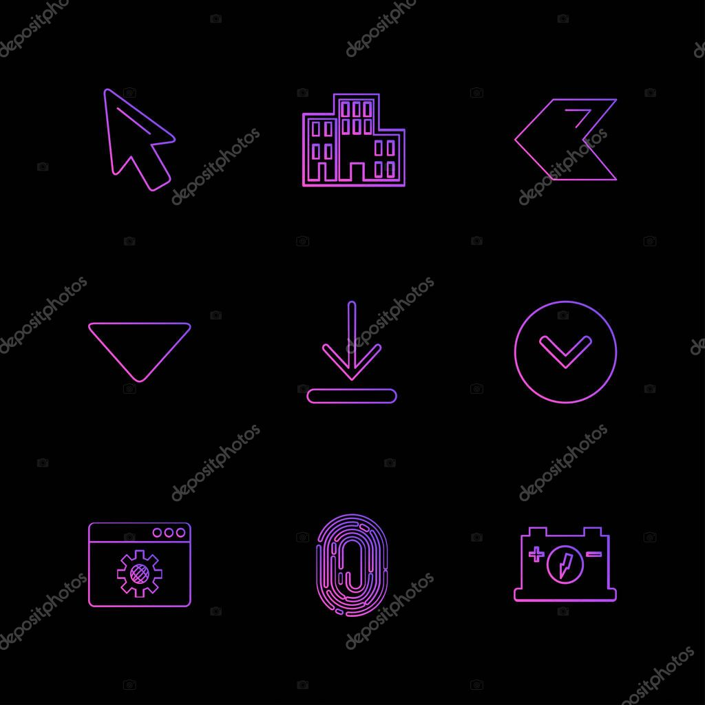 set of minimalistic flat vector app icons on black background