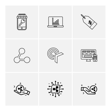 Different minimalistic flat vector app icons on white background