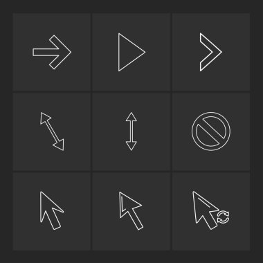 minimalistic flat app icons on black background