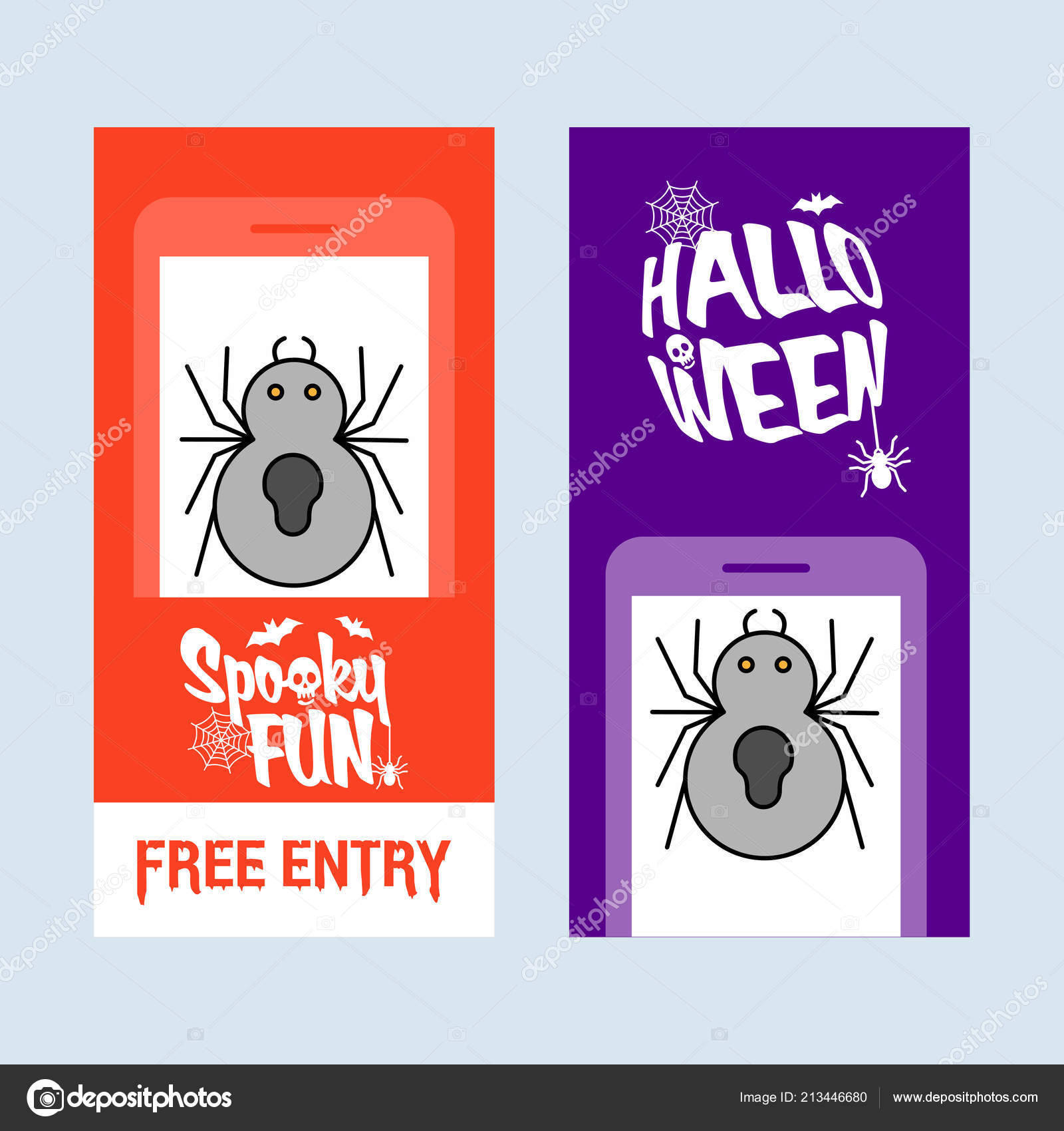 Happy Halloween Invitation Design Spider Vector Stock Vector