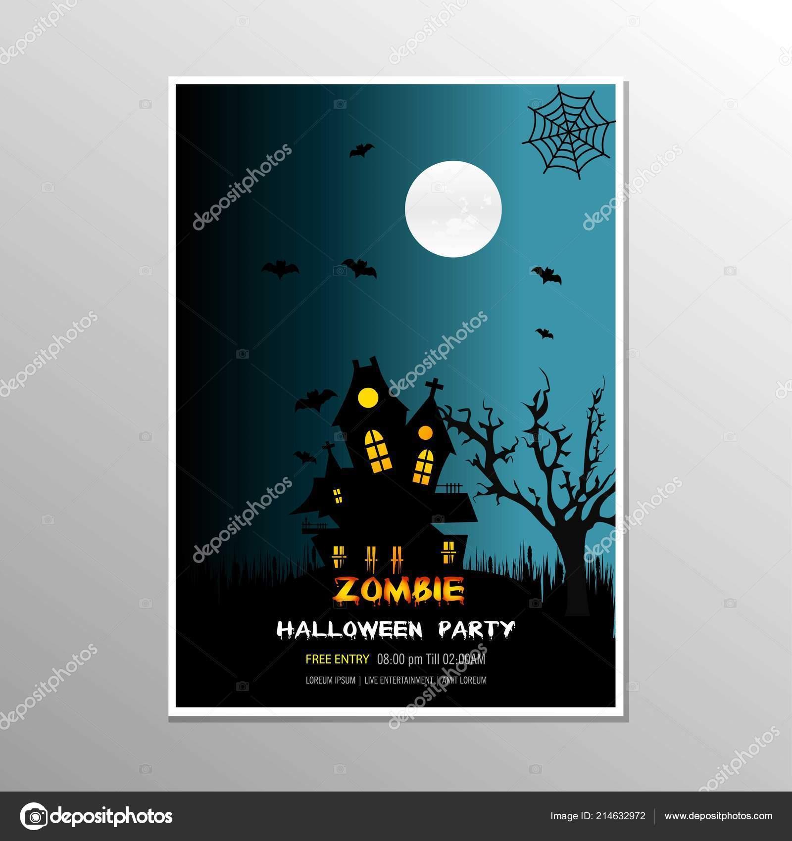 Vector Diseño Tarjeta Fiesta Halloween Zombie Feliz