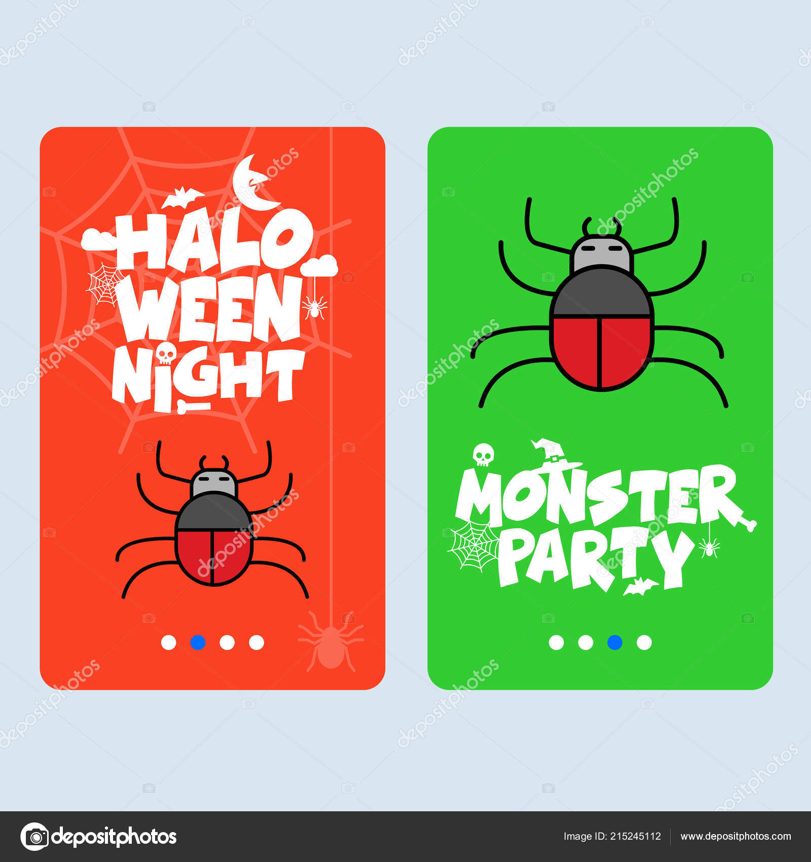 Happy Halloween Party Invitation Design Spider Colorful Vector Illustration