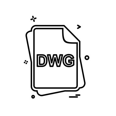 DWG file type icon design vector