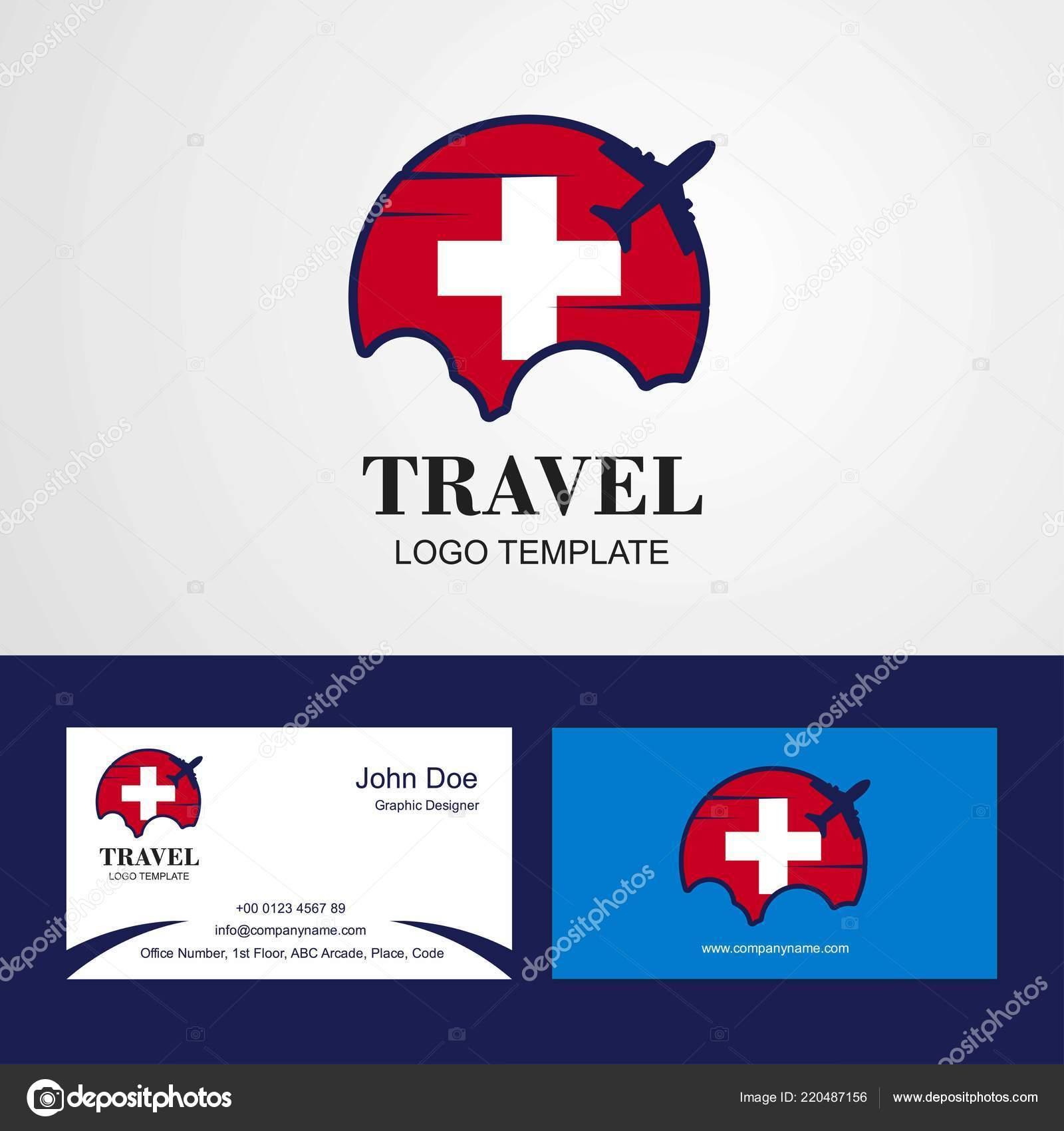 Reisen Sie Schweiz Flagge Logo Und Visitenkarte Design