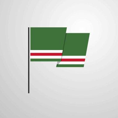 Chechen Republic of Lchkeria waving Flag design vector