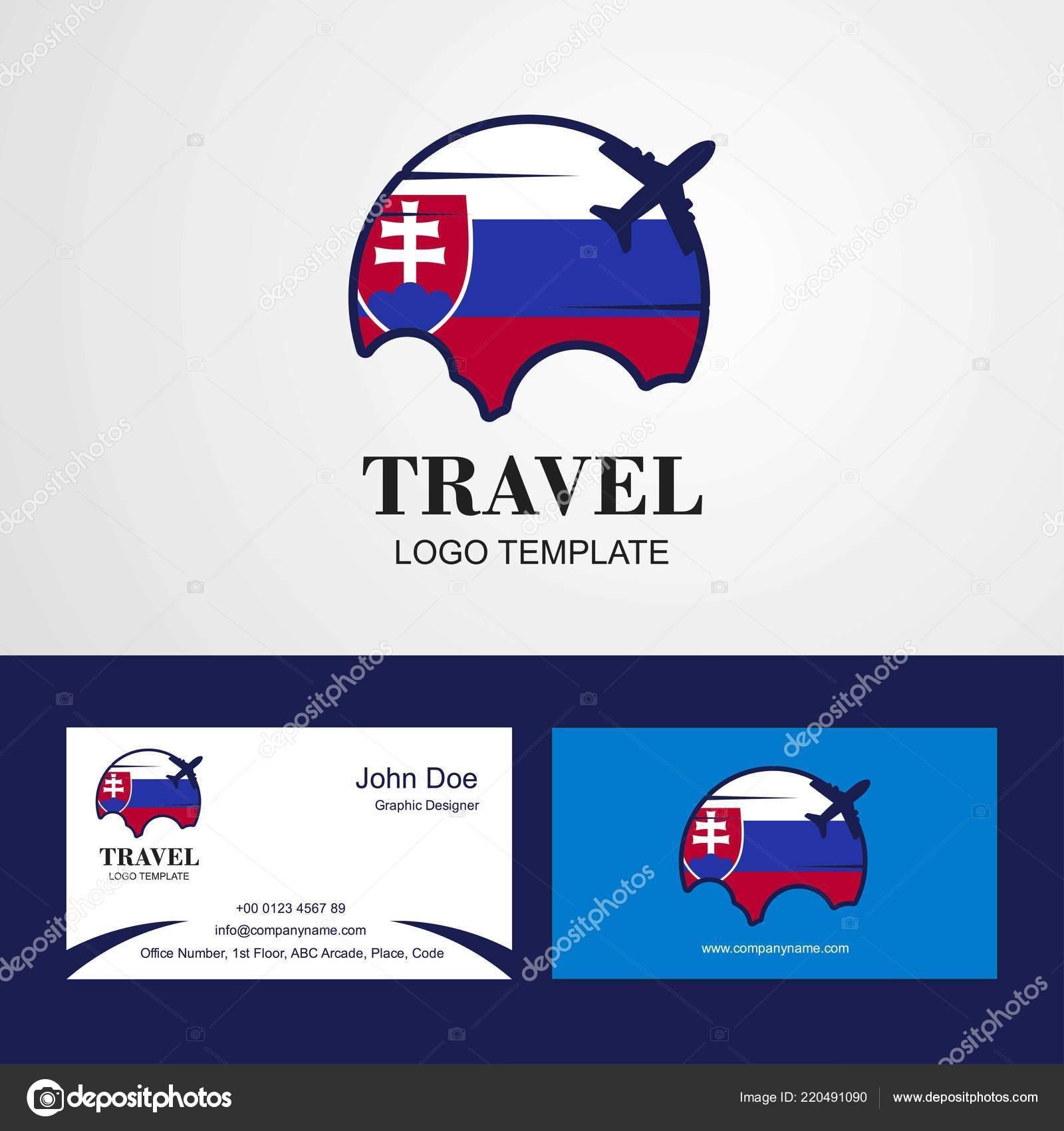 Voyage Slovaquie Flag Logo Carte Visite Design Image Vectorielle